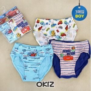 [오키즈] [D1880] 카스 팬티세트 [3매입 단추팩] 유아동 언더웨어 속옷