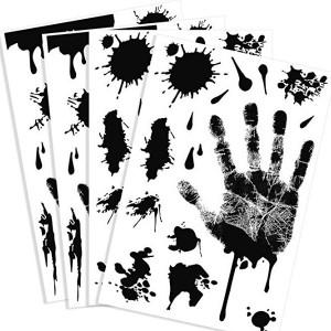 투파카 4 피스 할로윈 파티 장식을위한 검은 색 피 묻은 손 자국의 스티커 공포 PVC PVC 스티커