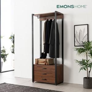 [에몬스홈] 인디 멀바우 스틸 드레스룸 옷장 800 3단 서랍형