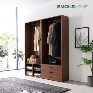 [에몬스홈] 인디 멀바우 드레스룸 옷장 1600 2단 선반형