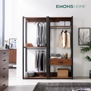 [에몬스홈] 인디 멀바우 스틸 드레스룸 옷장 1600 행거형