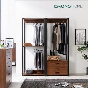 [에몬스홈] 인디 멀바우 스틸 드레스룸 옷장 1600 서랍형