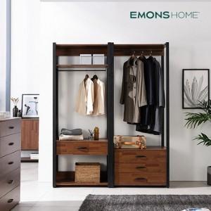 [에몬스홈] 인디 멀바우 스틸 드레스룸 옷장 1600 서랍선반형