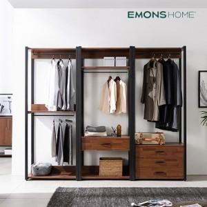 [에몬스홈] 인디 멀바우 스틸 드레스룸 옷장 2400 풀세트