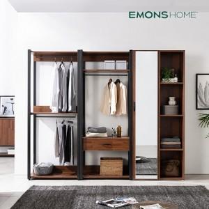 [에몬스홈] 인디 멀바우 스틸 드레스룸 옷장 2400 행거형