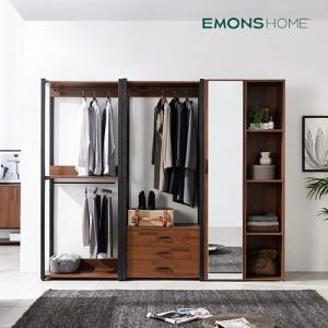[에몬스홈] 인디 멀바우 스틸 드레스룸 옷장 2400 서랍형