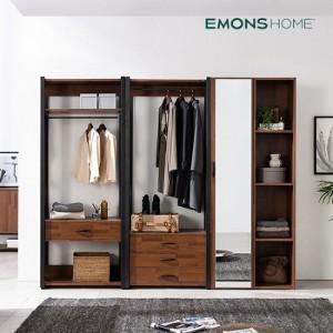 [에몬스홈] 인디 멀바우 스틸 드레스룸 옷장 2400 서랍선반형
