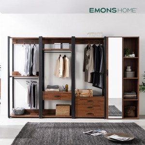 [에몬스홈] 인디 멀바우 스틸 드레스룸 옷장 3200 전신거울형