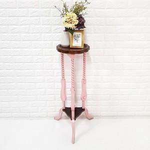 엔틱가구 핑크 3각 미니 화분대 미니장식장 협탁