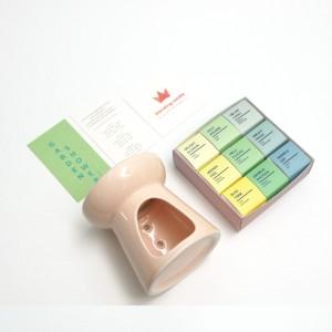 심지 없는 멜팅캔들 9개입 + 러블리피치 캔들워머 세트 - 가든갸워 시트러스,허브,민트 향기 구성