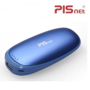[피스넷] 고용량 USB 충전식 전기 손난로 보조배터리 페블 휴대용 핫팩 블루