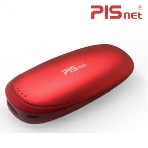[피스넷] 고용량 USB 충전식 전기 손난로 보조배터리 페블 휴대용 핫팩 레드