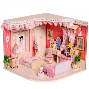 [adico] DIY 미니어처 우드 하우스 - 핑크 침대방