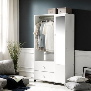 네시스 쏘렘 이동식 거울+투서랍 행거옷장세트 DRF162C (착불)