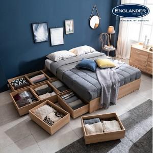 [잉글랜더]플로이 무헤드 시크릿 수납 침대(NEW E호텔 양모 라텍스 7존 독립매트-Q)