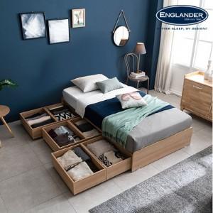[잉글랜더]플로이 무헤드 시크릿 수납 침대(NEW E호텔 양모 라텍스 7존 독립매트-SS)