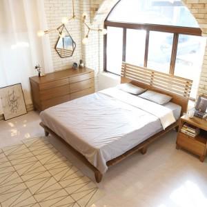 데니쉬 에쉬 원목 통깔판 퀸 침대