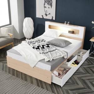 모던 라인 LED 조명 퀸 수납 침대(서랍4개)