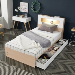 모던 라인 LED 조명 슈퍼싱글 수납 침대(서랍3개)