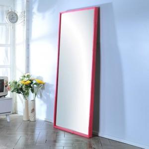 가구누리 원목 대형거울 1700 x 700 레드파인 핑크