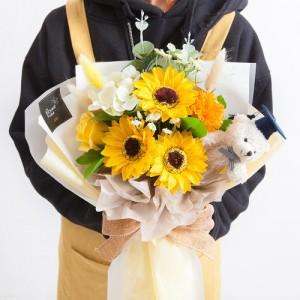 믹스비누해바라기꽃다발42cm