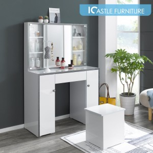밀라 유리도어형 화장대(의자별매)/콘솔/입식화장대