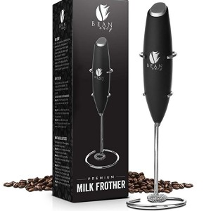 Bean Envy Milk Frother Handheld - Perfect For The Best Latte - Whip Foamer - Includes Stainless Steel Stand / 60g