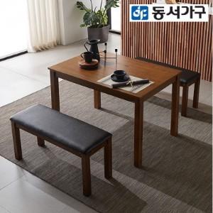 [동서가구]조이 4인 원목식탁+벤치2 DF639240
