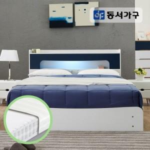 동서가구 에클라 LED 3단수납 침대Q_독립 매트M