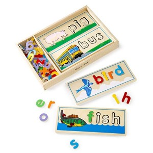Melissa & Doug See & Spell Learning Toy, Developmental Toys, Wooden Case, Develops Vocabulary and Spelling Skills, 50+ Wooden Pieces / 1180g