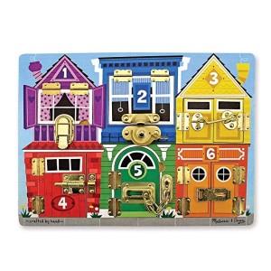 Melissa & Doug Wooden Latches Board, Developmental Toy, Sturdy Wooden Construction, Helps Develop Fine Motor Skills / 1045g